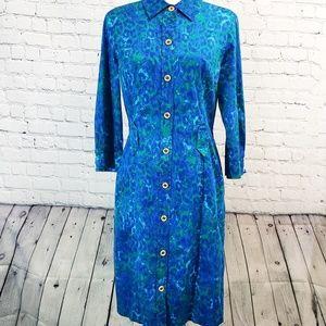 St.John Sport small blue/green print shirt dress